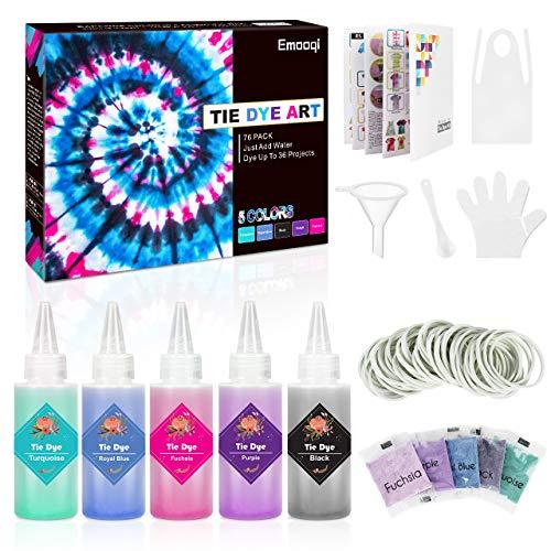Emooqi Tie Dye Kit, 5 Farben Textil Farbstoff Set mit Quetschflaschen, Gummibänder & Handschuhe usw, DIY Vibrant Batikfarben Krawattenfärbe Set für Kinder & Erwachsene