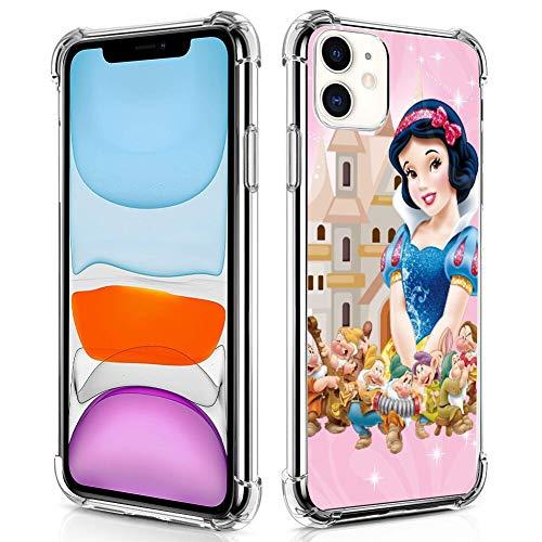 DISNEY COLLECTION Custodia trasparente per iPhone 11 Cute Snow White and The Seven Nani Hard PC Cover posteriore con 4 angoli Slim Cover protettiva per ragazze e donne