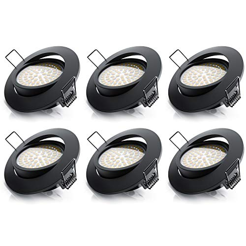 Brandson - 6X LED Deckenspot dimmbar und schwenkbar - LED Einbauleuchte - LED Einbauspot LED Deckenstrahler - Slim Aluminium Druckgussrahmen Edelstahl Optik - Abstrahlwinkel 120 Grad - 230V - schwarz