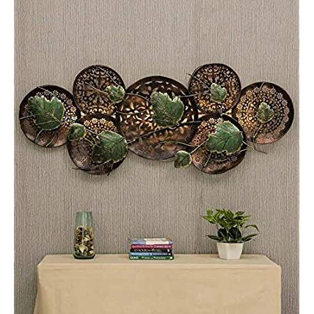 Style Home Art Rajasthani Iron Handcrafted Multicolour Metal with LED Leaf Wall Art
