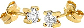 18K Yellow Gold Earrings Model Little Claws (2 Brilliant Diamonds 3.25 mm 0,28Cts.) Measure: 3.25 mm.