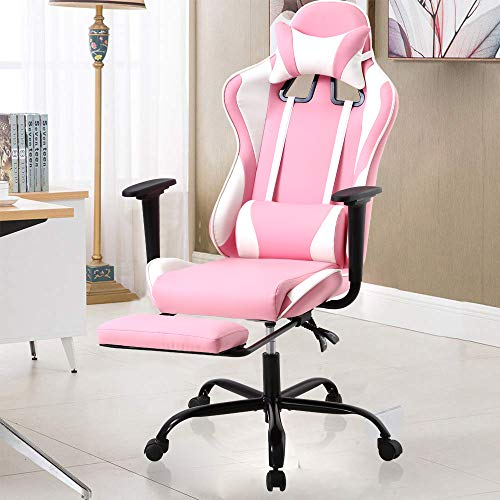 Ergonomic Office Chair Pink Gaming Chair with Footrest & Arms High Back Swivel Rolling Computer Chair with Lumbar Support Racing Style PU Leather Desk Chair with Adjustable Backrest & Headrest Pillow