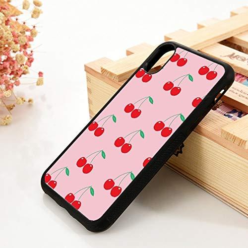 WGOUT para iPhone 5 5S 6 6S Funda de Gel de sílice de TPU Suavepara iPhone 7 Plus X XS 11 Pro MAX XR Pink Ceri Cherry, para iPhone 7