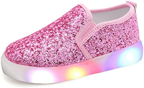 UBELLA Girl s Light Up Sequins Slip On Loafers Flashing LED Casual Shoes Flat Sneakers Toddler product image