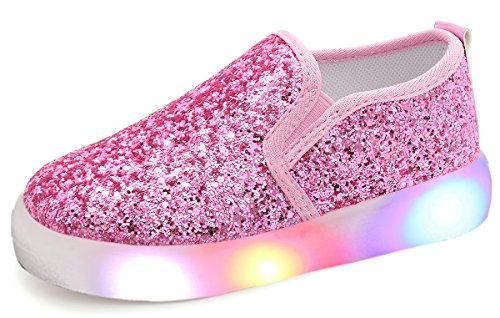 UBELLA Girl's Light Up Sequins Slip On Loafers Flashing LED Casual Shoes Flat Sneakers (Toddler/Little Kid) Pink