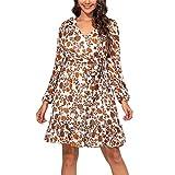Vestido de manga de soplo de otoño para mujer,Vestido floral de moda con volantes de cintura alta media longitud