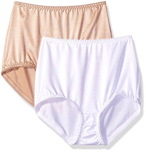 Vassarette Women's Undershapers 2-Pack Light Control Brief 40201, White/Latte, Medium/6