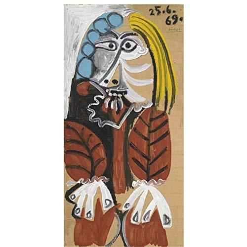 suuyar Pablo Picaso Berühmte Kunst Gemälde Drucken Auf Leinwand Kunst Poster Und Drucke Abstrakte Klassische Frau Wandkunst Bilder Wohnkultur-50x75cm Kein Rahmen