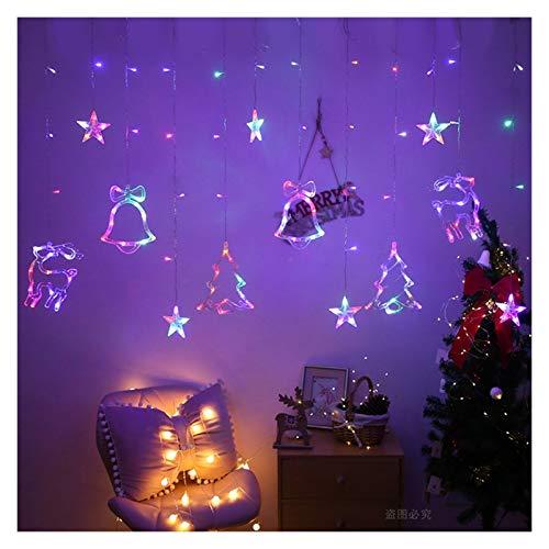 YCRCTC Noël lumières LED 3.5m Guirlande Lumineuse Rideau étoile décor Bells for la Maison Guirlande Lumineuse extérieure/intérieure String Festival Lumière (Color : Multicolor Style1)
