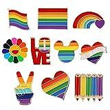 10 Broches Arcoíris, Solapa Regalo Broche de Metal, Broches Arcoíris del Orgullo LGBT, Pines Arcoíris para Lesbianas Gays LGBT, para Suéteres, Pañuelos en la Cabeza, Vestidos, Trajes, Bolsos, Mochilas