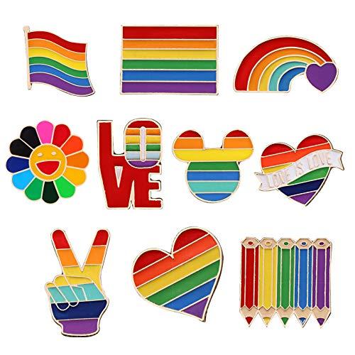 10 Stück Regenbogen Broschen, Regenbogen Emaille Pins Anstecknadeln, LGBT Pride Regenbogen Broschen, Regenbogen LGBT Homosexuell Lesben Pins, für Pullover, Schals, Kopftücher, Kleider, Anzüge