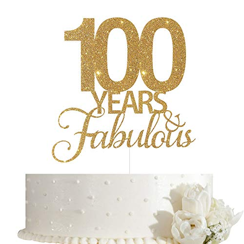 100 Years Fabulous Cake Topper, 100th Birthday Cake Topper, 100th Anniversary Cake Topper with Gold Glitter