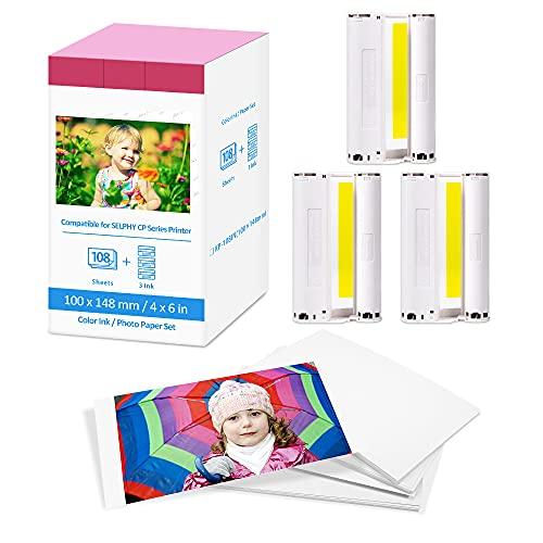 Papel y tinta compatibles con Canon Selphy CP1300 CP910 CP1200 CP1000 CP900 CP800 impresora cartuchos y papel, KP-108IN papel fotográfico (3 cartuchos de tinta, 108 hojas de 10 x 15 cm)