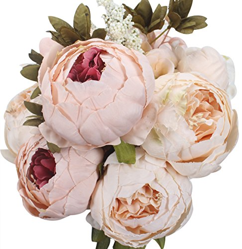 XIUER Vintage Artificial Flowers Fake Peony Flowers Bouquet Glorious Wedding Home Bridal Decoration (Light Pink)
