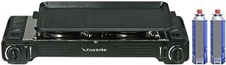 Réchaud plancha XXL Gaz 2 feux 4400W FIVESTAR 2en1+ Plancha grill Réchaud à Gaz portable avec Mallette + 2 Cartouches 227gr