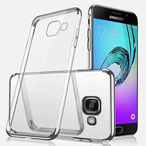 Ukayfe Custodia Compatibile con Samsung Galaxy A5 2016,Trasparente HD Morbido TPU Silicone Cover Placcatura Bumper Case Ultra Sottile Flessibile Crystal Clear TPU Antiurto Protettiva-Argento