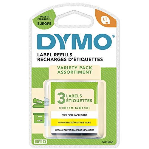 DYMO LT Etikettenband Authentisch | Papier/Kunststoff/Metall | 12 mm x 4 m | selbstklebendes Etiketten | für LetraTag-Beschriftungsgerät | 3 Stück