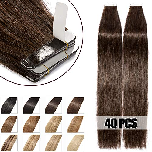 40 Pcs Extension Adhesive Cheveux Naturel Rajout Vrai Cheveux Humain Tape in Human Hair - #02 Brun - 55CM