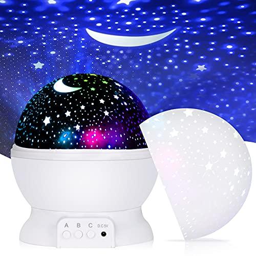 ASANMU Lámpara proyector de estrellas para niños, proyector lámpara de estrella lámpara de iluminación nocturna 360º giratoria lámpara de salón giratoria con cable de carga USB regalo para niños