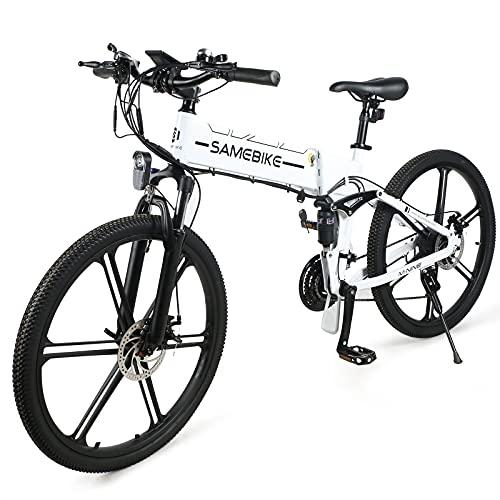 JINGJIN Bicicleta Eléctrica E-Bike Plegable, Bicicleta de Ciudad para Bicicleta Eléctrica de 26' para de 500W con batería extraíble de 10Ah, Shimano 21 Speed, Velocidad 35 km/h,White