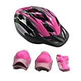 UNISTRENGH Children's Kids Adjustable Bike Helmet with Safety Protective Set Gear Knee/Elbow/Wrist Pads for Cycling Bicycle Skateboarding Skating Rollerblading Sport Exercise (7 Piece Set) (Pink)