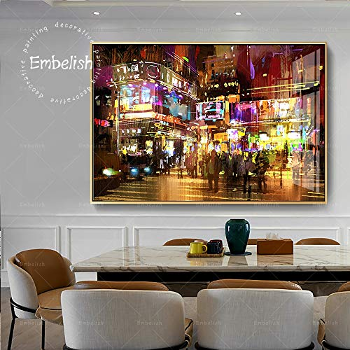 KWzEQ Canvas Painting Times Square Street poster onpictures decorativefor room home decor30x45cmFrameless painting