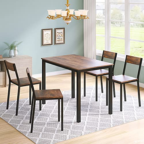 Dining Table with chairs Wooden Steel Frame Industrial Style Retro Kitchen Dining Table Set (1 Table & 4 chair)