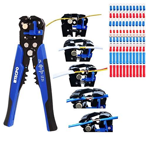 Automatische Abisolierzange mit Kabelschuhe 199-teilig Crimpzange Drahtschneider Multitool zum Abisolieren Schneiden und Crimpen für Kabeldurchmesser von 0.2-6 mm² 10-24 AWG