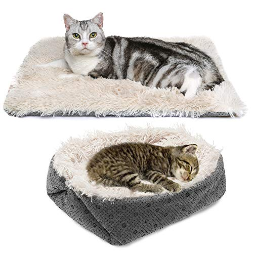 PUPTECK Furry Self Warming Cat Bed Mat - Foldable Convertible Thermal Cat Sleeping Bag Pad, Comfy Pet Heated Nest Mat Anti-Slip for Cat & Puppy
