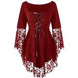 Toamen Femme Vetement Chemisier T-Shirt Top ÉLéGant Chic Gothique Mode Eté Décontracté Appliques en Mousseline À Manches Longues Asymétrique Dentelle Hem Mini Dress(du vin,XXL=US:XL)