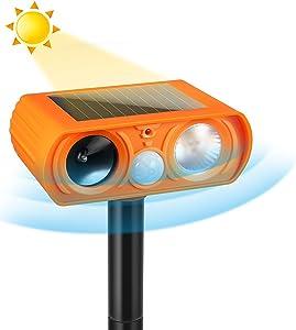 Luckkya Ultrasonic Dog Chaser,Orange Animal Deterrent with Motion Sensor and Flashing Lights Outdoor Solar Farm Garden Yard Repellent,Dogs,Cats,Birds