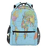 Oarencol - Mochila Colorida con mapamundi para educación, Viajes, Senderismo, Camping, Escuela,...