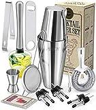 Perjoy Cocktail Shaker Set, 16 Piece Bartender Kit, Cocktail Shaker, Stainless Steel Bar Set Accessories, Coktail Set, Boston Shaker, Drink Mixer Shaker, Bartending Bar Tools with Muddler Spoon Jigger