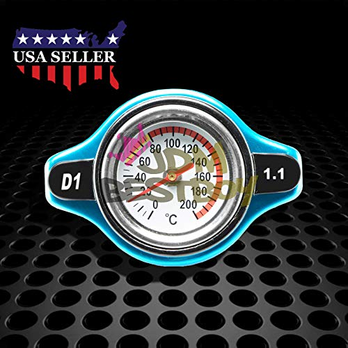 JDMBESTBOY 1.1 Bar Thermostatic Radiator Cap 13 PSI Pressure Rating with Temperature Gauge Aftermarket
