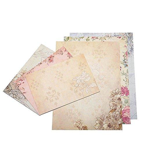 bobotron 40 Blatt Vintage Briefpapier Sets mit Umschlaegen zum Schreiben von Briefen