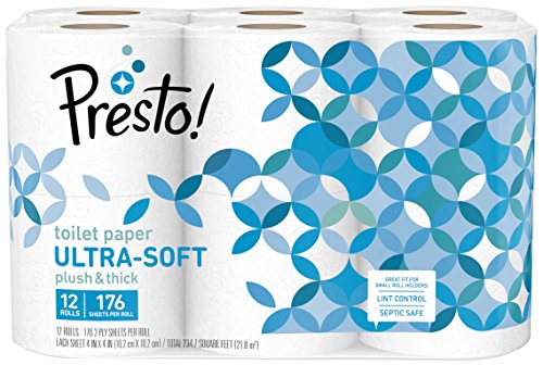Amazon Brand - Presto! 176-Sheet Roll Toilet Paper, Ultra-Soft, 12 Count (For Small Roll Holders)