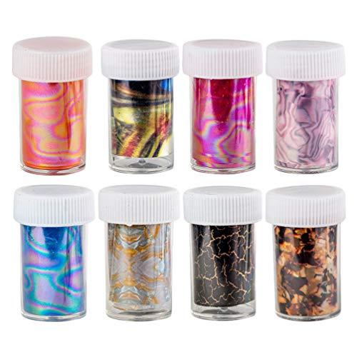 Pixnor 8 Pcs Nail Art Feuille Autocollants Fleur Nail Art Wraps Autocollants Nail Pochoir Stickers DIY Nail Design pour Nail Art Décoration