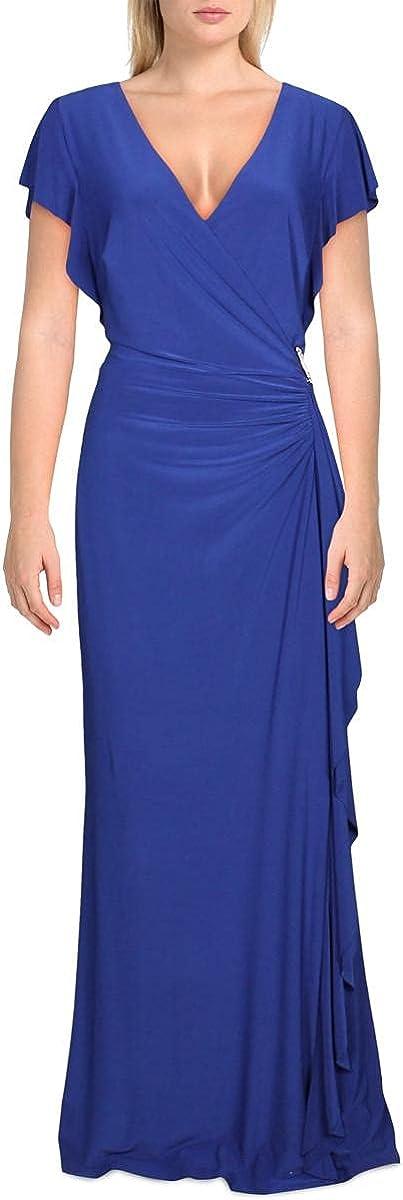 LAUREN RALPH LAUREN Womens Ruched Surplice Formal Dress