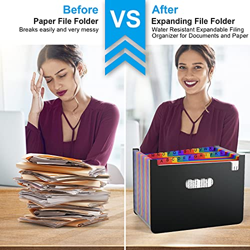 24 Pockets Accordian File Folder Organizer, Portable Expanding Filing Box,Accordion Plastic Folders, A4 Letter Size Expandable Document Organizer Wallet for Check/Bill/Receipt/Paper(2 Tabs Included) Photo #5