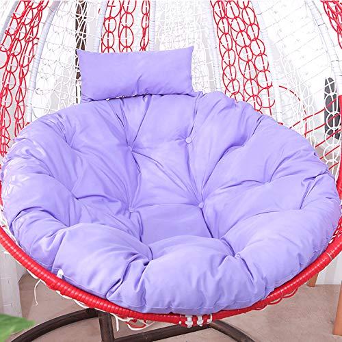 Cojín de mimbre de ratán para silla de huevo, cojín de silla para colgar, suave y agradable al tacto, cojín de asiento de columpio grueso para colgar en la silla con almohada púrpura-1