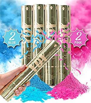 Revealations Gender Reveal Confetti Powder Cannon - Set of 4 Mixed  2 Blue 2 Pink  Gender Reveal Party Supplies - 100% Biodegradable Tissue Safe Powder Smoke