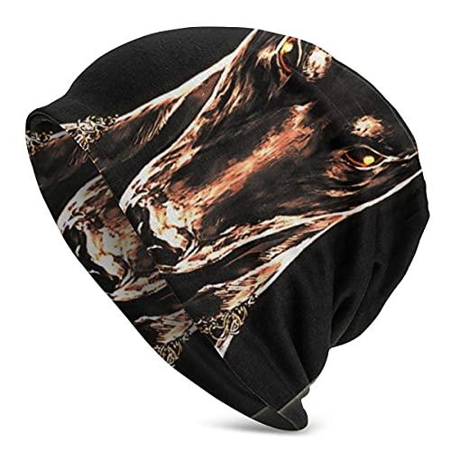 XCNGG Cool Men Doberman Pinscher Dog Winter Ski Warm Beanie Gorro de Punto Gorro de Punto para jóvenes Hombres Mujeres Adultos Primavera Otoño Invierno Disfraz Negro