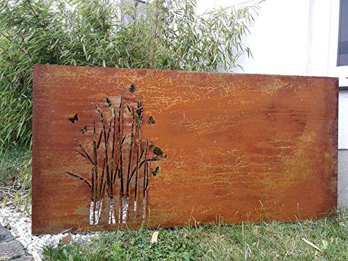 Zen Man Edelrost Garten Sichtschutz Metall 1mm Sichtschutzwand Rost Sichtschutzwand 032006-1 H75 * L150cm Handarbeit