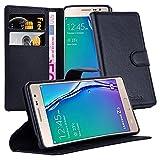 Cadorabo Hülle für Samsung Galaxy Z3 in Phantom SCHWARZ - Handyhülle mit Magnetverschluss, Standfunktion & Kartenfach - Hülle Cover Schutzhülle Etui Tasche Book Klapp Style