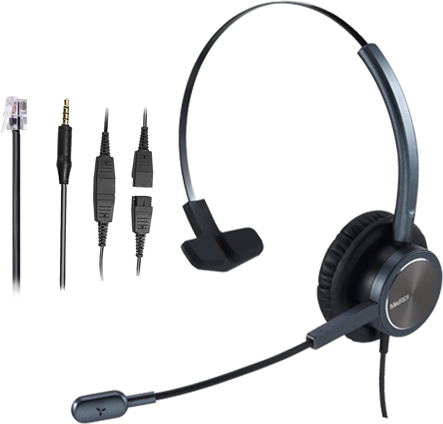 Call Center Headset with RJ9 & 3.5mm Connectors for Landline Deskphone and Smartphone PC Laptops, Mono Office Telephone Headset with Noise Canceling Microphone for Yealink Grandstream Snom