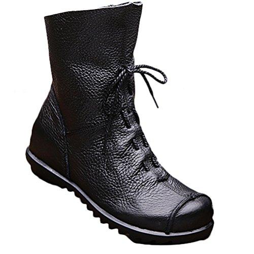 Vogstyle Damen Stiefel Weiches Leder Stiefeletten Warm Gefüttert Art 1 Schwarz Fleece EU40/CH41