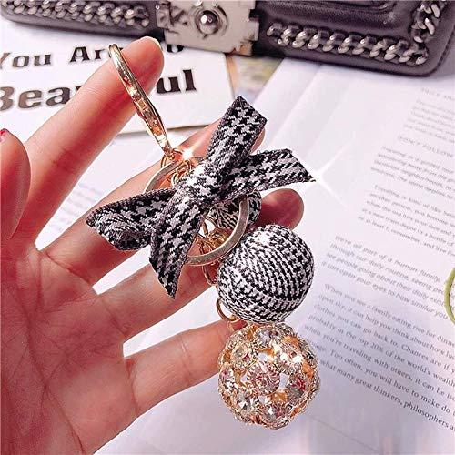 Aiiwqk Artesanía Diamante de imitación Bola de Cristal Llavero Anillo Moda para Mujer Colgante a Cuadros Flor eterna Regalo de joyería