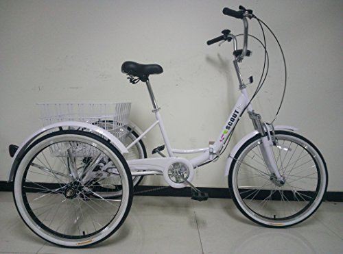 Adults Tricycle, Folding Frame with Suspension, 24' Wheels, 6-Speed Shimano Gears … (White)