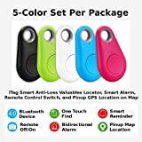 Smart iTag Tracker Locator, 5-Piece / Set of 5-Color, Anti-Loss Keys / Valuables, Use Remote Control to Take Pics or to Record Voice on your Cellphone, Map Cellphone GPS Location, USA Seller!