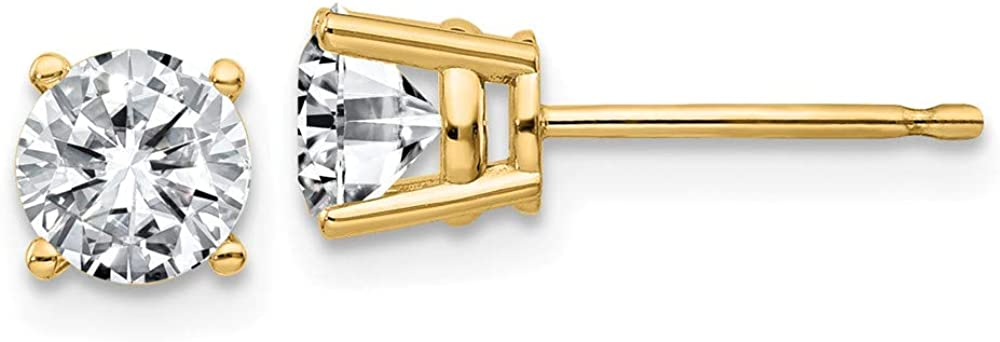 FB Jewels 14K Yellow Gold 1.00ct. 5.0mm Round Moissanite 4-Prong Basket Post Earring